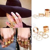 D19   1set Fashion Golden Stack 9pcs Plain Above Knuckle Ring Set Punk Rock Mini Rings