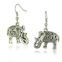 Unique Tibetan Silver Hollow Carved Elephant Drop Dangle Fashion Vintage Earrings For Women