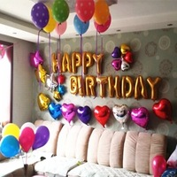 50pcs/set 16inch Happy Birthday Letter Balloon With Heart & Star Shape Foil Balloon and Dot Latex Balloons & Pump Set Wholesale