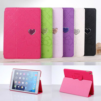For Apple iPad Air 2 Case Luxury Cartoon Hello Kitty Bowknot Heart Magnetic PU Leather Case Cover With Stand Holder For iPad 6