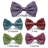 "New Fashion 5 colors ""Striped / Diagonal""Pattern Bow tie Men's Unisex Wedding Tuxedo Dress Party ties/Butterfly Wholesale&Retail"