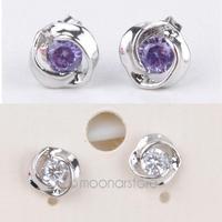 2014 Top Promotion 925 Sterling Silver Rose Pattern Crystal White Purple Earrings Ear Decor for Women Girls Ladies ZS*MZ255#S3