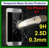 10pcs Free Shipping 0.3mm 9H 2.5D Rounded Edge Thin Tempered Glass Rear Screen Protector for iPhone 6 4.7 with Retail Packaging
