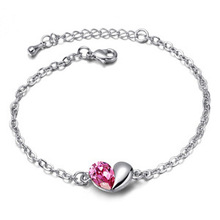 New 2014 Free Shipping Austria Crystal Floating Charms Cute Heart Shape Bracelet For Girls Women Fashion Style (China (Mainland))