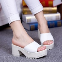 women sandal New arrival 2014 genuine leather white sandals female genuine leather platform slippers thick heel platform sandals