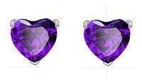 Elegant Women Stud Earrings purple heart earring AAA Zircon earrings Free Shipping