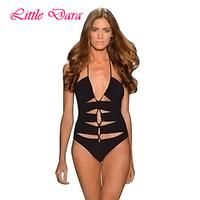 [little dara] 2015 women black color one piece monokini swimwear sexy cut out swimsuit  retro swim suit