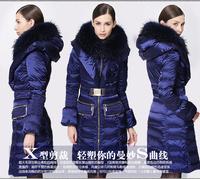 Italian Winter 2014 luxury large fur collar down coat medium-long women's thickening slim warm Coat Satin