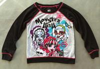 10pcs/lot free shipping baby clothing girl girls monster high long sleeve T shirt top black tee