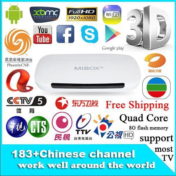 Mibox M9 caixa de IPTV Chinese Android 4.4 qual core chinês 183 canais Smart TV Box superar TVPAD iPlayer WiFi XBMC Mini PC TV Box(China (Mainland))