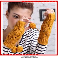 Korean fashion short paragraph wool knitting fingerless gloves