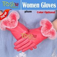2014 New Winter Genuine Leather Sheepskin Gloves Warm Winter Women Female Rabbit Gloves Fur Leather Gloves 7 Color Free Shipping