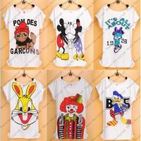 69 styles Girls TShirt Women tees shirt  femaleT-shirts Short bat Sleeve Free Shipping Cartoon mouse Printed T Shirts lady tops