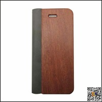 Fashion environmentally friendly rosewood + Leather Phone Case For Iphone 5 5S
