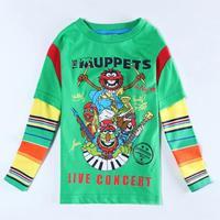 Wholesale A5653 Boy T-shirt Green Cartoon T shirt Spring Autumn T shirt for Child Boys Clothes Fashion Children T shirt 5pcs/lot