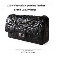 2014 women's sheepskin genuine leather handbag small plaid bag chain bag female shoulder bag cross-body handbag