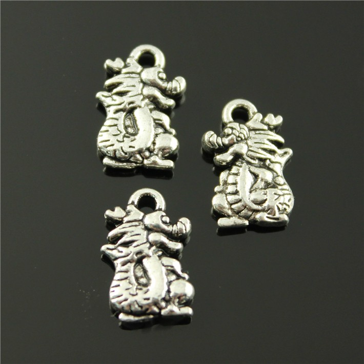 100pcs/lot 15*10mm antique silver plated dragon charms(China (Mainland))