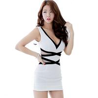Sexy NightClub Wear Elasic Waist Cotton Black White Mixed Color Bodycon Sleeveless Dress Low Cut Cocktail Vestidos Curto 1298