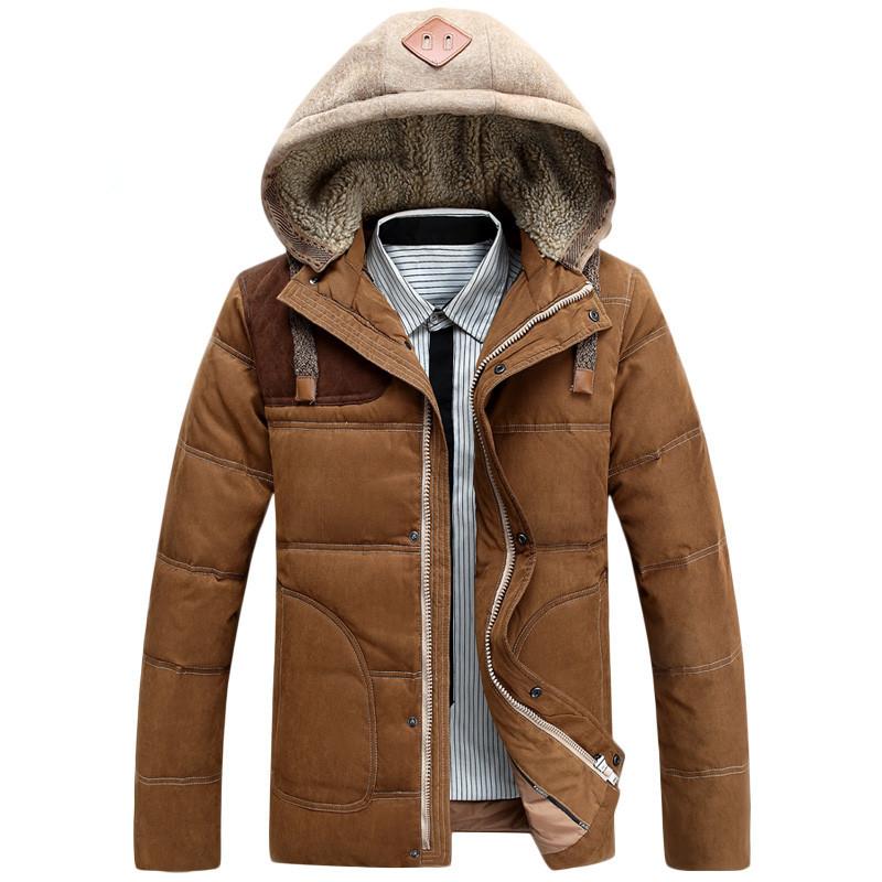 New 2014 Winter Men s Patchwork Hooded Down Jacket Men 90 Duck Down Thicken down jacket