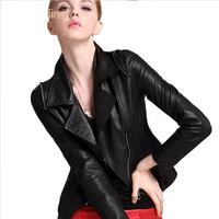 Fashion Black sheep leather 100% genuine sheep skin motorcycle women's overcoat leather ladies jacket