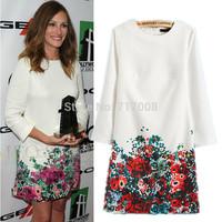 2014 Fashion Women Spring and Autumn Slim Casual dress Plus Size Women Clothing print dress chiffon desigual dress vestidos xxxl