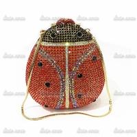 Handmade Diamond European popular luxury big beetle shape beautiful colorful evening bag Rhinestone Wedding Bridal banquet bag