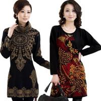 Thickening quinquagenarian women's medium-long plus size slim sweater mother clothing sweater dress