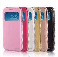 New Hot PU Leather Case Smart Cover For Samsung Galaxy S4 i9500 luxury Diamond Case metal Frame with auto-sleep wake-up Function