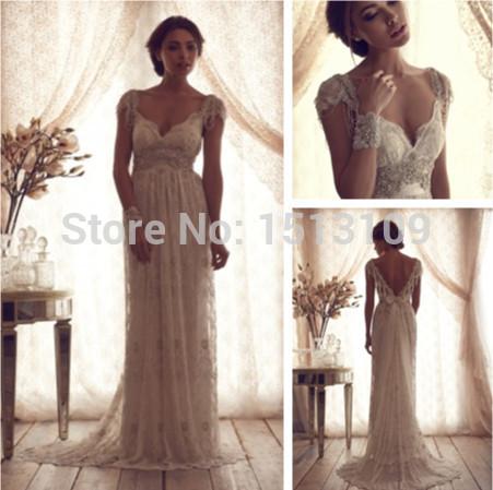 train de balayage 2014 avenante lace gaine backless robes de mariée manches perlage