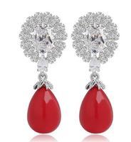 new design sweet CZ stone huggy earrings women statement jewelry for female drop pearl earrings women earrings korean jewelry