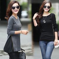 2014 Autumn New Casual Women Chiffon Patchwork Zipper O-Neck Base Tops Tees T Shirts Plus Size, 3 Colors, M, L, XL, XXL, XXXL