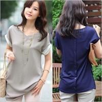 Roupas Femininas 2014 Women Summer Short Sleeve Women Tops  Blusas Plus Size Women Clothing Blusas Chiffon Cotton Tropical Shirt