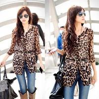 2014 Summer New Fashion Korean Style Women Chiffon Leopard Single Breasted Irregular Hem Long Blouses Shirts, Free Size