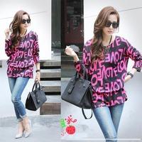 2014 Autumn New Fashion Women Plaid Letter Love Print Leopard O-Neck Long Base Tops Tees T Shirts Plus Size, 6 Styles, L, XL