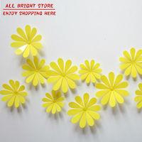 12 Piece/lot Home Decoration 3D Wall Sticker Yellow Daisy Flower Chrysanthemum Bedroom Living Room Bathroom Decor four Size
