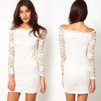 2014 Autumn New Sexy Women Natural Color Lace Patchwork Package Hip Mini Dress Vestidos, White, Pink, Purple, Black, S, M, L, XL