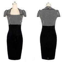 2014 Autumn New Brief Elegant Women Houndstooth Patchwork Square Collar Bodycon Party Dress Vestidos, Black, S, M, L, XL, XXL