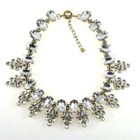 Fashion Luxury Jewelry Big Brand Crystal Leaves Statement Necklace Pendants Vintage Choker Chunky Necklace Women 2014