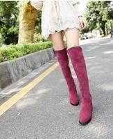 2014 winter boots Tall flat elastic sleeve suede womens boots zipper flat heels thigh high boots slip on fashion bota