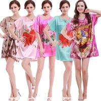 Plus Size Sleepwear Women Nightgowns Rayon Silk Woman flower print Home wear bathrobe nightdress indoor home clothing  W005
