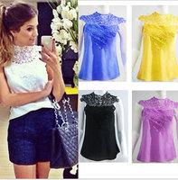 blusas femininas 2015  Women Blouse Openwork lace sleeveless white blouse roupas femininas shirt women