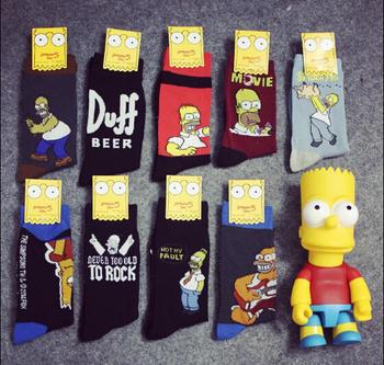 Персонализированные хлопок симпсоны мультфильм среднего носки для мужчин или женщин ...