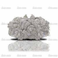 The new high-end luxury fashion casual evening bags full diamond white pearl crystal gem wedding package rhinestone evening bag