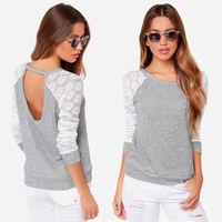 Hot sale Korean fashion long sleeve lace Pachwork Tops T-shirt Blouse Plus size 8818