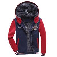 2014 new winter male velvet hooded coat trend men's baseball uniform jacket explosion models thick warm hoodies men
