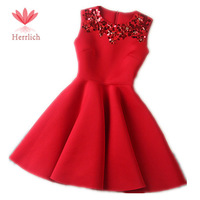 High Quality Autumn And Winter Dress Red Sleeveless Sequin Mini Party Dresses Cotton Ball Gown Vestido Casual Women Dress D12421