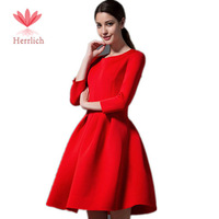 2014 Autumn Winter Women's Red Black Dress Evening Elegant Three Quarter Sleeve Pleated Ball Gown Dress To Party Dresses D12411