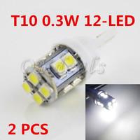 2 PCS W5W T10 0.3W 12-LED SMD 5500K 12 V Car Side Wedge White Light Reading Bulbs Parking