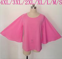 2015 Europe and America Fashion Flouncing Bat sleeve chiffon blouse ,women pink color casual shirts,plus size S - 4XL  vestidos