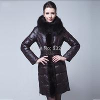 2014 plus size ladies long down jacket with fox fur collar women's winter high-end brand down coats XL,XXL,XXXL